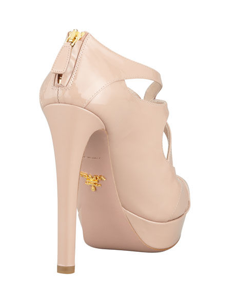Patent Zip-Back Strappy Platform Pump, Nude