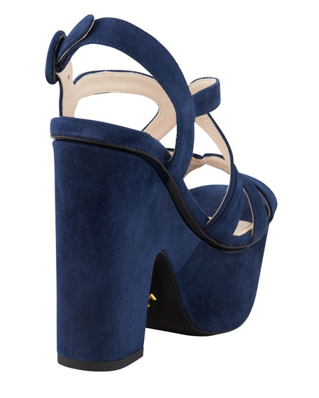 Suede Cutout Chunky Wedge Sandal, Navy