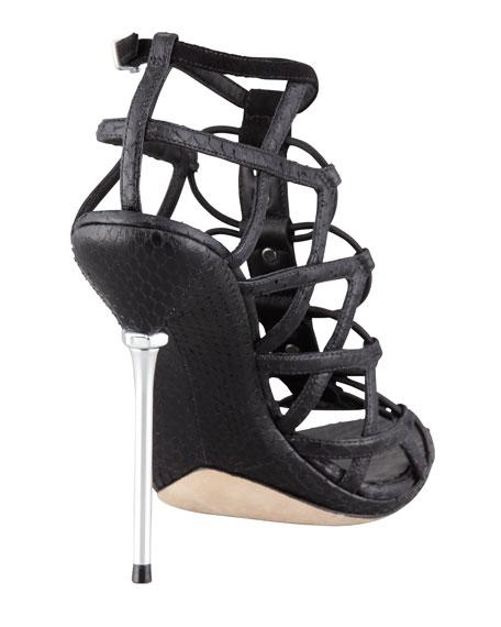 Mirante Studded Stretch Cage Sandal, Black