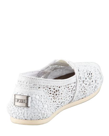 Metallic Crochet Slip-On, White/Silver