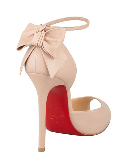 Dos Noeud Peep-Toe Ankle Wrap Red Sole Pump, Nude