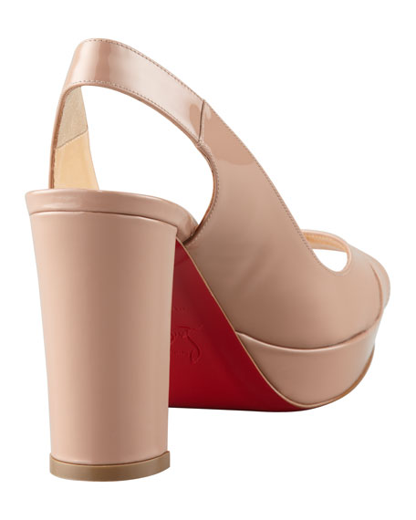 Marpolo Patent Red Sole Slingback, Nude