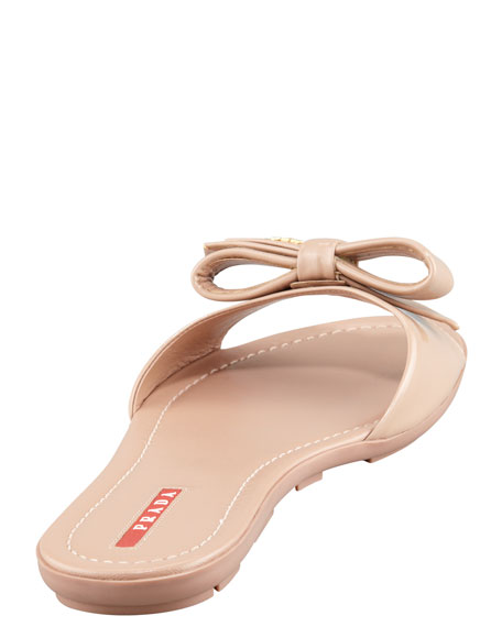 Patent Leather Logo Bow Slide Sandal, Nude