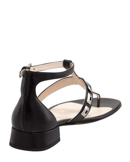 Studded T-Strap Saffiano Sandal, Black