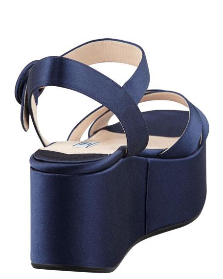 Satin Crisscross Wedge Sandal, Blue