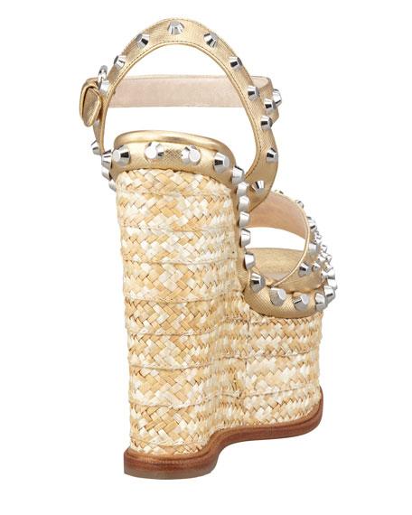 Metallic Studded-Trim Platform Sandal, Platinum