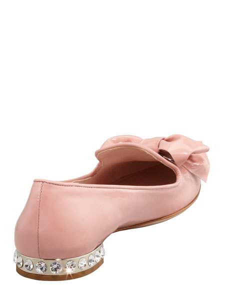 Crystal-Heel Patent Leather Slipper