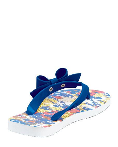 Printed Bow Flip Flop, Blue