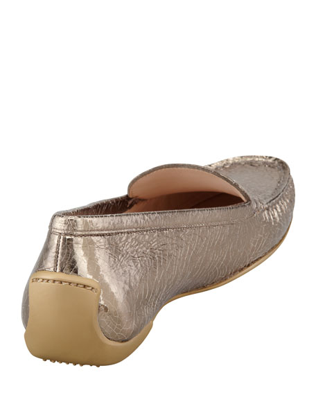 Mach 1 Metallic Leather Driver Moccasin, Gold