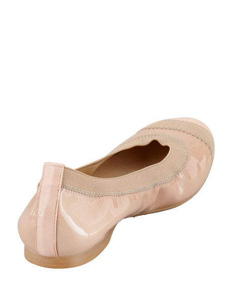 Tipable Elastic-Trim Ballerina Flat, Adobe