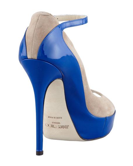 Tami Suede Patent Pump, Nude/Blue