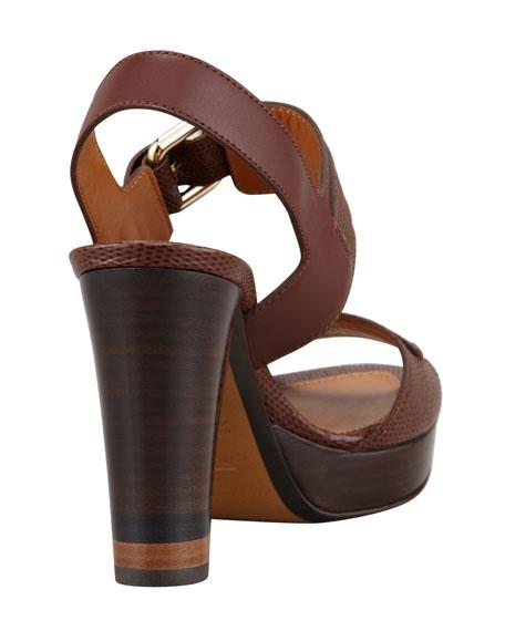 Lizard-Stamped Penny Platform Sandal