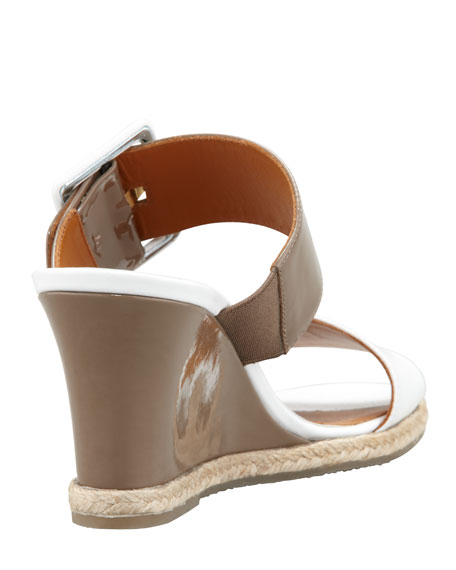 Patent Demi Wedge Buckle Sandal