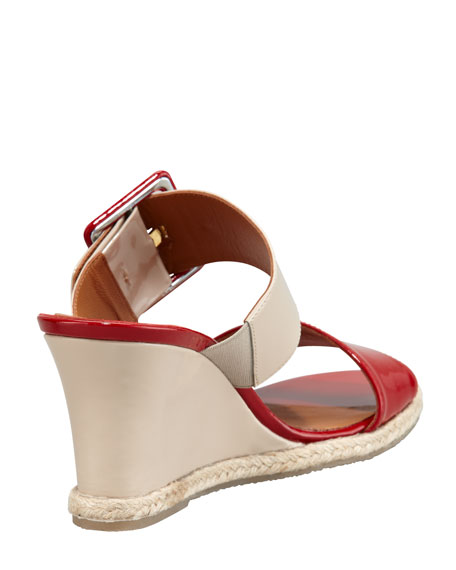 Colorblock Patent Demi Wedge Sandal, Red/Nude