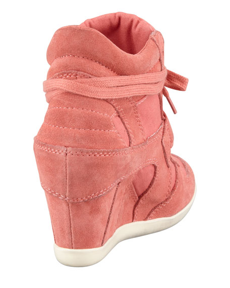 Suede & Canvas Wedge Sneaker, Peach
