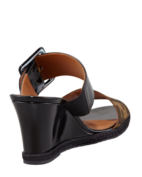 Zucca Patent Demi Wedge Sandal, Brown/Black