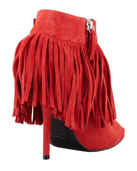 Open-Toe Suede Fringe Bootie, Red