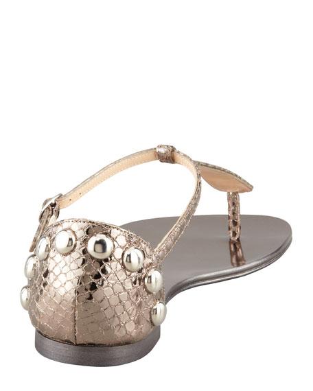 Metallic Flat Thong Sandal, Anthracite