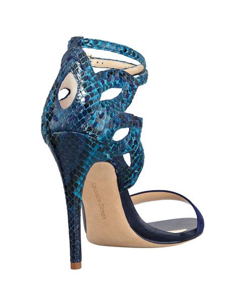 Python Ankle-Cutout Sandal, Blue