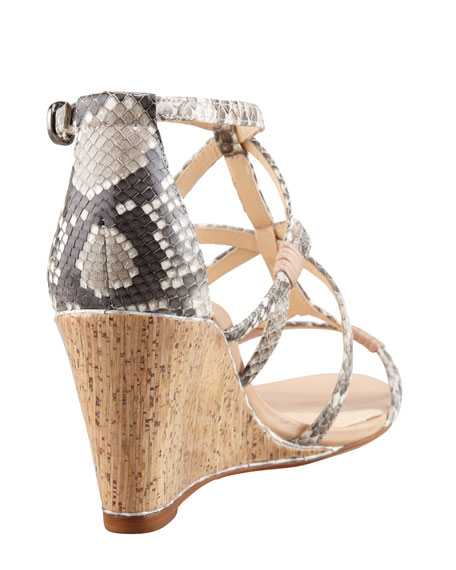 Strappy Python Wedge Sandal