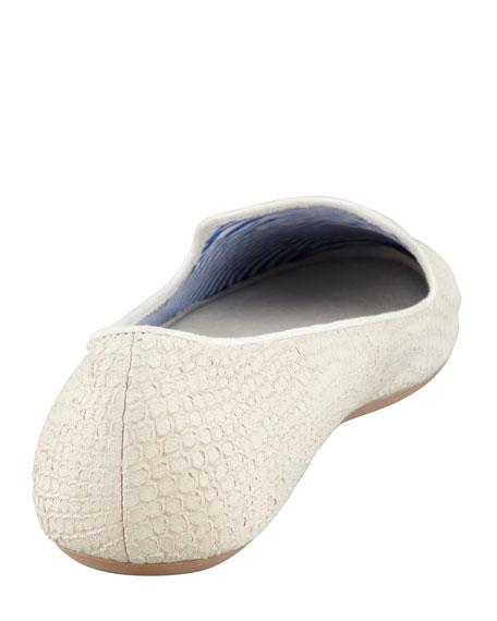 Lizette Python-Embossed Slip-On Loafer, White