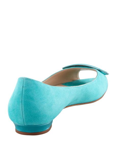 Fani Open-Toe Suede Ballerina Flat, Turquoise