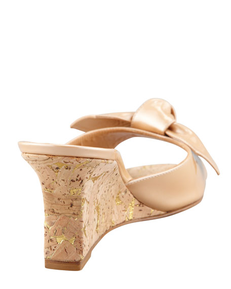Liss Bow Slide Cork Wedge, Nude