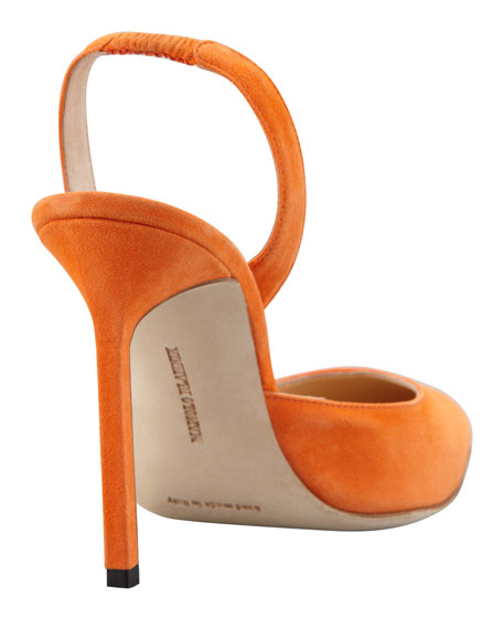 Carolyne Suede High-Heel Halter, Orange