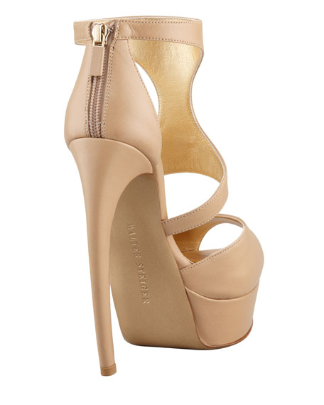 Curve-Heel Leather Platform Sandal