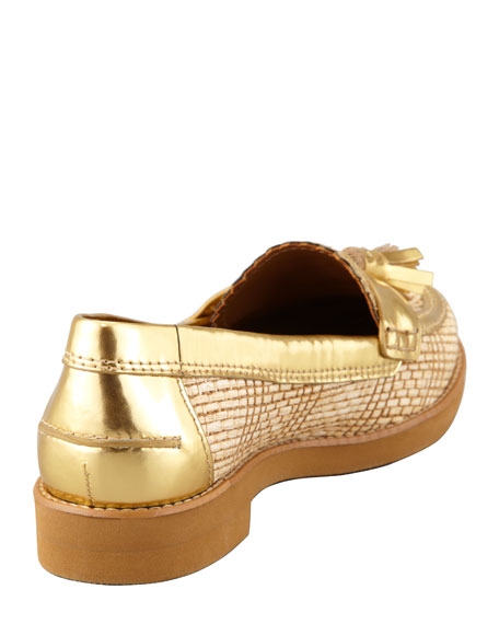 Careen Metallic-Raffia Runway Tassel Loafer