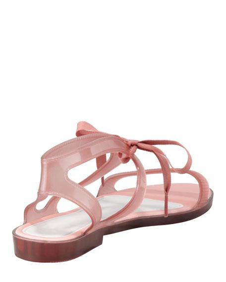 Artemis Ribbon-Tie Jelly Sandal