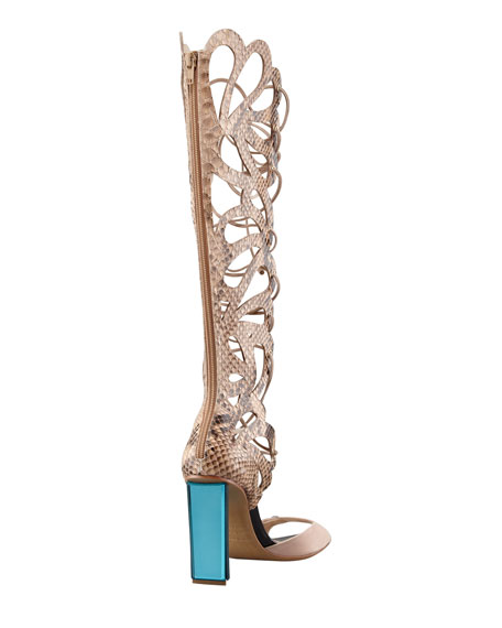 Scalloped Snakeskin Sandal Boot