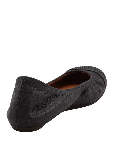 Scrunched Topstitched-Toe Ballerina Flat, Black