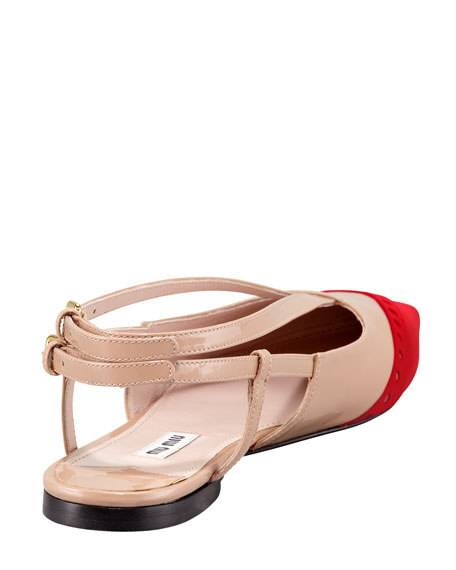 Patent Bicolor Ballerina Flat, Red/Nude