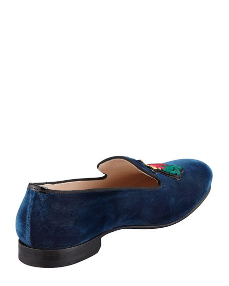 Velvet Rose-Embroidered Smoking Slipper