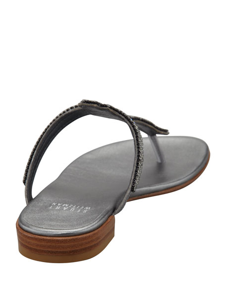 Vanity Jewel-Thong Sandal, Pewter