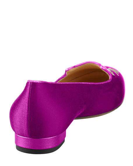 Kitty Satin Flat Slipper, Fuchsia