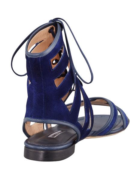 Vestalamod Flat Suede Gladiator Sandal, Blue