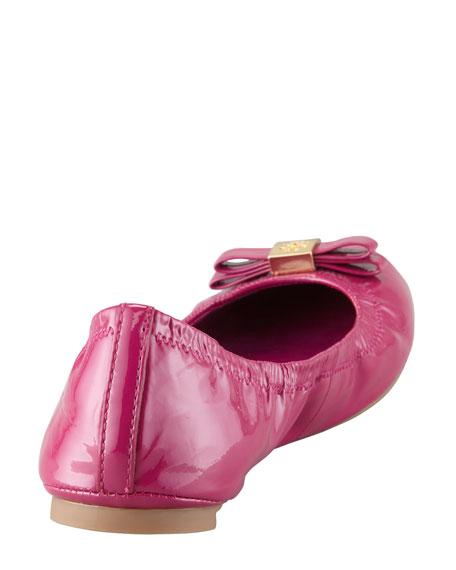Eddie Logo Bow Patent Ballerina Flat, Fuchsia