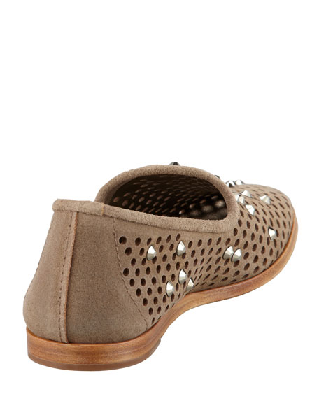 Yaden Perforated Crystal Smoking Slipper, Dune