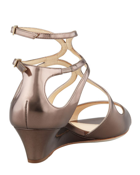 Inka Wedge Mirror Sandal, Light Bronze