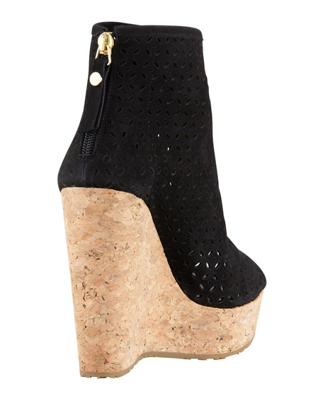 Paw Perforated Suede Cork-Wedge Bootie, Black