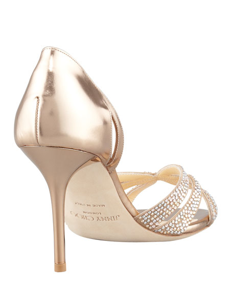 Bauble Crystal-Embellished Metallic Sandal