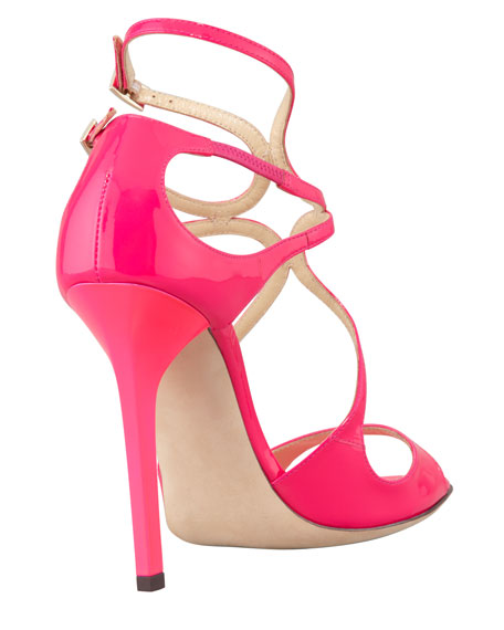 Lang Patent Strappy Sandal, Fuchsia