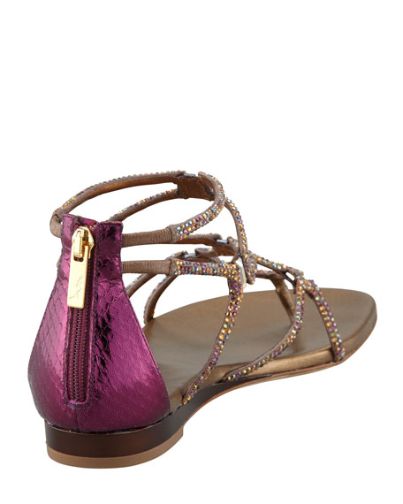 Crystallized Flat Thong Sandal, Gold/Purple