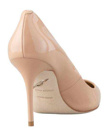 Malika Patent Pointed-Toe Pump, Nude