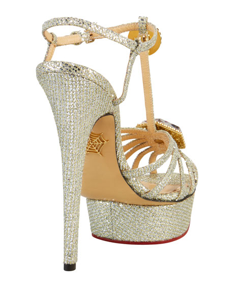 Leading Lady Glitter Platform Sandal, Silver