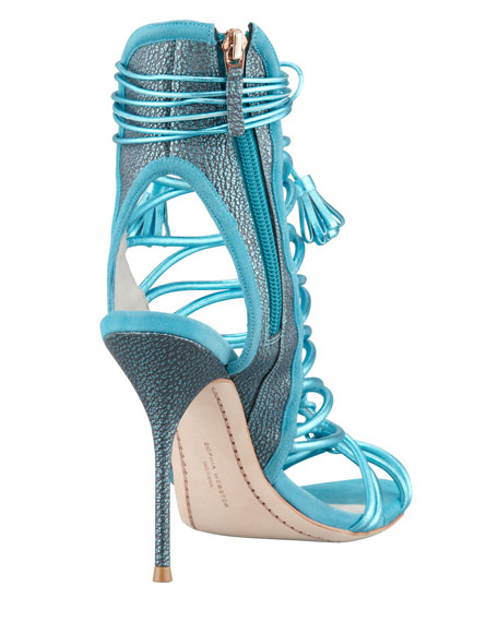 Lacey Metallic Multi-Strap Tassel Sandal