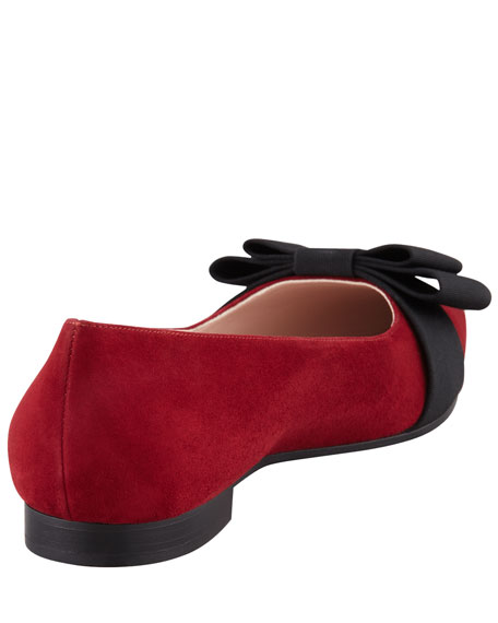 Suede Pointed-Toe Bow Flat, Red