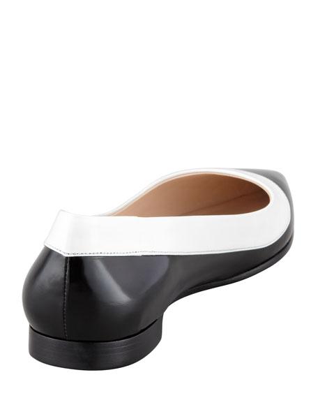 Bi-Color Spazzolato Point-Toe Flat